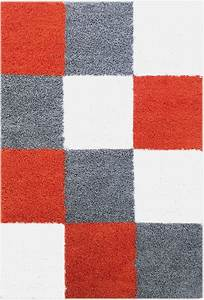 tapis shaggy longues meches orange gris cream hautes With tapis gris orange