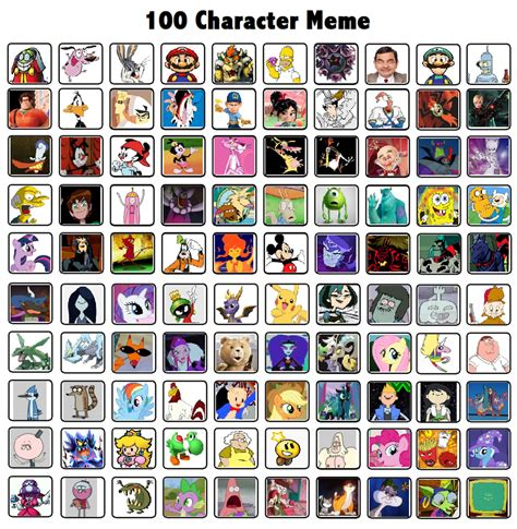Meme Characters - 100 characters meme by thedarkbrawler90 on deviantart