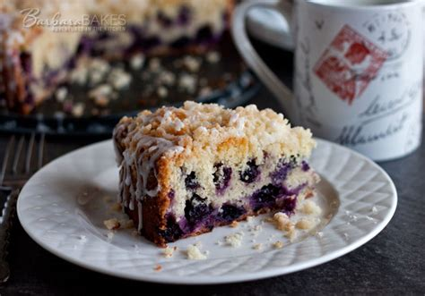 It's classified as a coffee cake because of the crumbly texture, but it's not loaded with all the fat and sugar that's commonly found in coffee cake recipes. Lemon Blueberry Coffee Cake Recipe   Barbara Bakes