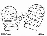 Mittens Coloring Mitten Pages Printable Winter Template Drawing Sheets Pattern Sheet Snowman Hat Christmas Rukavice Craft Crafts Preschool Colouring Clipart sketch template