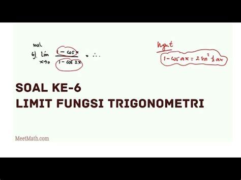 Untuk proses pemfaktorannya sama seperti proses faktorisasi bentuk aljabar Video Limit Fungsi Trigonometri - Contoh 6 | MeetMath