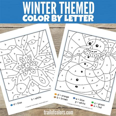 color by letter winter color by letter free printable trail of colors