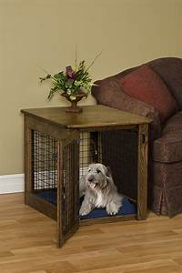 wooden dog crate end table chew proof pet furniture solid wood With dog crate and table