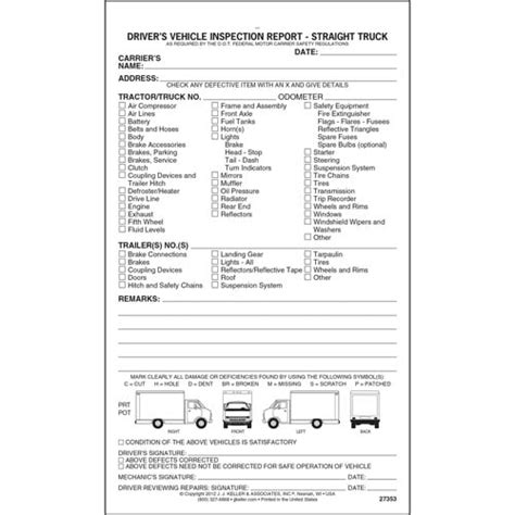 detailed drivers vehicle inspection report straight