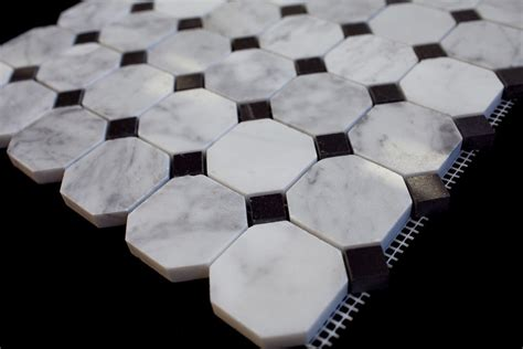 octagon marble floor tile carrara white 2 in octagon polished marble mosaic tile