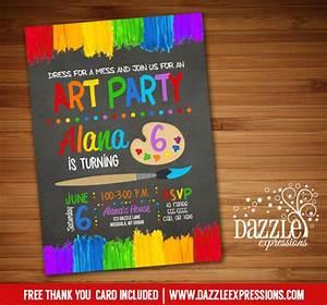 Printable Graduation Invitation Printable Chalkoard Painting Art Party Birthday Invitation