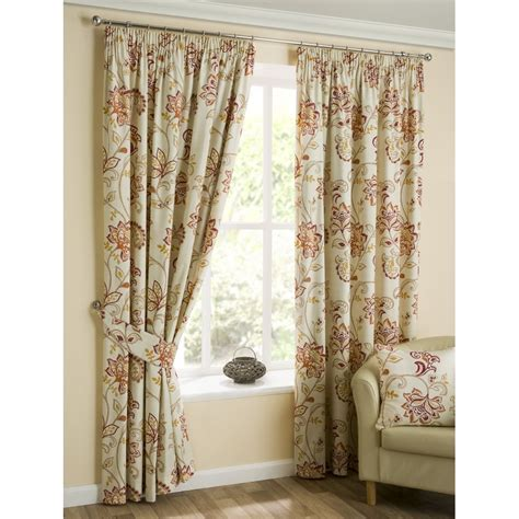 Jacobean Style Floral Eyelet Curtains by Belfield Furnishings Jacobean Spice Paisley Floral Pencil