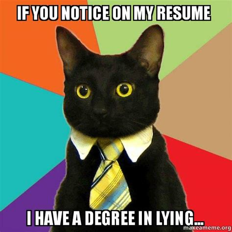 should i lie on my resume reddit if you notice on my resume i a degree in lying business cat make a meme