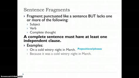 Fragments And Runon Sentences Youtube