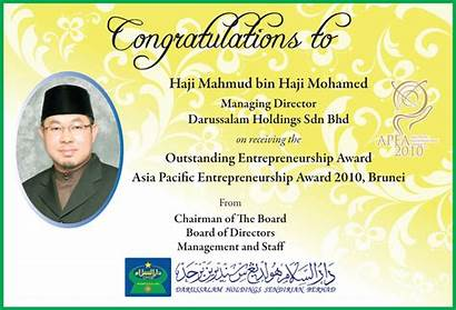 Holdings Darussalam July Congratulations