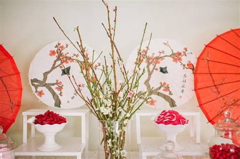japanese themed decor i m seeing a pattern here parasols and cherry blossoms joyce s bridal shower ideas