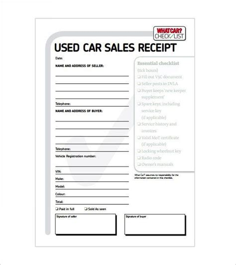 car sale receipt receipt template   word