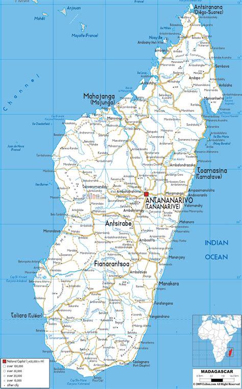 detailed clear large road map  madagascar ezilon maps