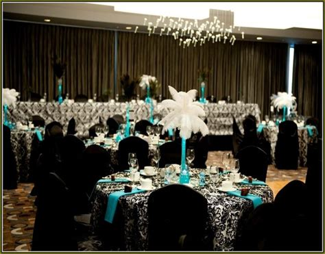 turquoise black and white wedding centerpieces wedding
