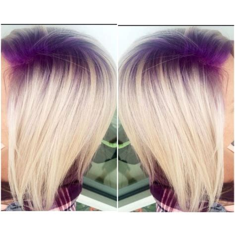 colored roots purple violet shadow root with platinum hair