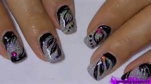 Holographic nail polish and black types of art design