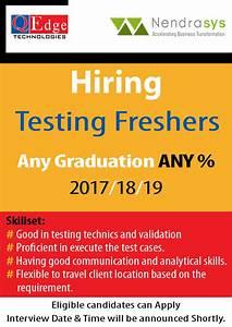 Nendrasys Is Hiring Freshers  U2013 Manual Testing  2017  18  19