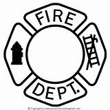Fire Coloring Pages Safety Fireman Badge Department sketch template