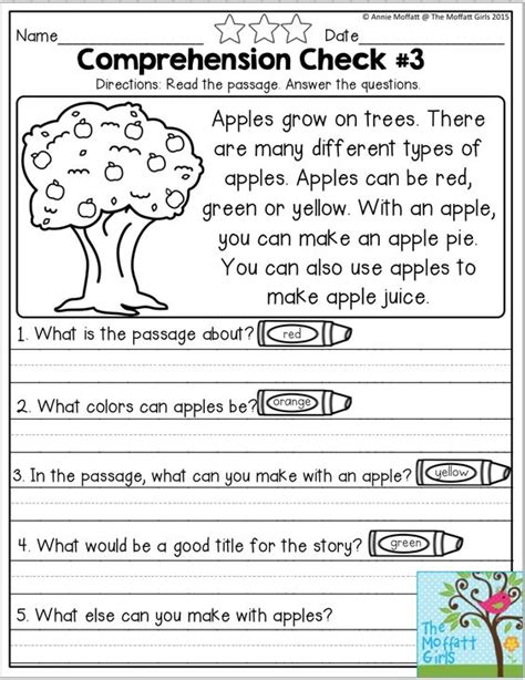 Reading Comprehension Checks For September Monthly No Prep Comprehension Checks… Apples