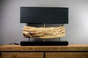 Lampe à Poser Bois : luminaire design lampe poser en bois de liane abat jour noir ~ Teatrodelosmanantiales.com Idées de Décoration