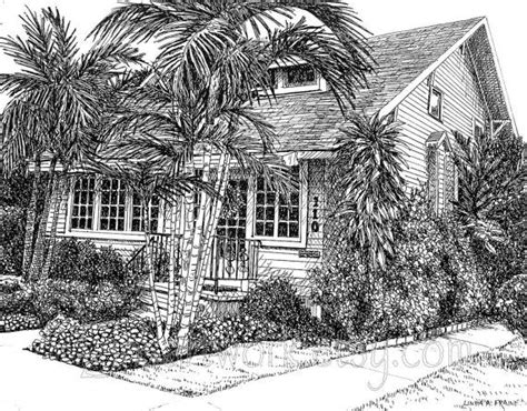 tropical cottage houseoriginal drawing limited edition
