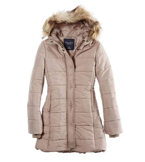 american eagle ae classic long puffer parka frost