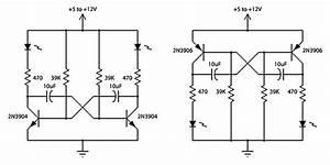 2 Transistor Led Flasher - Led And Light Circuit - Circuit Diagram