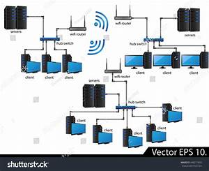 Lan Network Diagram Icons Vector Illustrator Stock Vector