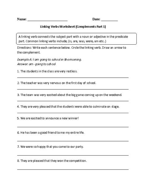 linking verbs worksheets linking verb and complements