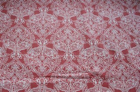 coral color cotton print fabric folklore pattern  joann