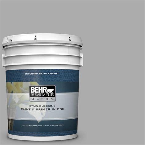 behr premium plus ultra 5 gal n520 3 flannel gray satin enamel interior paint and primer in