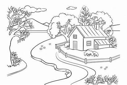 Coloring Landscape Spring Vector Global