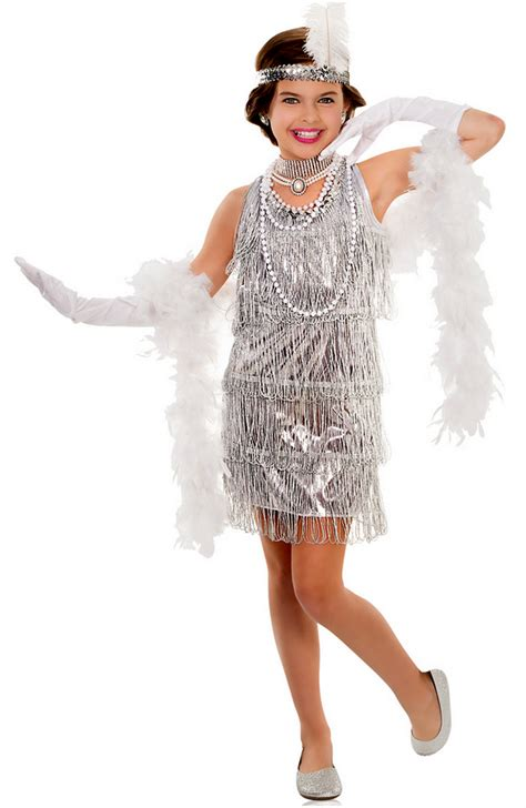 Child's Silver Dazzling Flapper Dress Costume - Candy