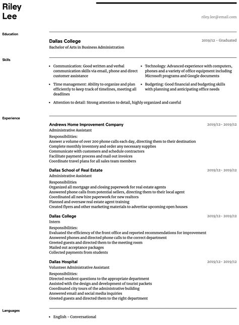 administrative assistant resume samples  experience