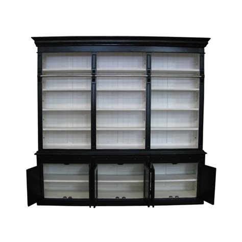 White And Black Bookcase by European Design Provincial Three Bay Bookcase With