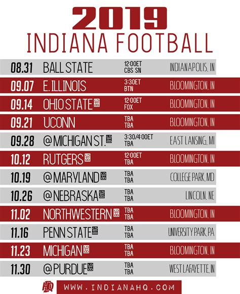 indiana football schedule printable indianahq