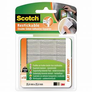 Scotch Double Face : lot de 18 pastilles adh sives scotch fixation double face ~ Melissatoandfro.com Idées de Décoration
