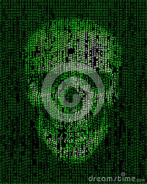 skull   binary code hacker cyber war symbol stock