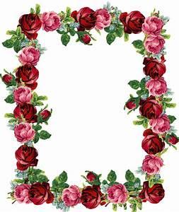 Free digital vintage rose frame and border png : gorgeous