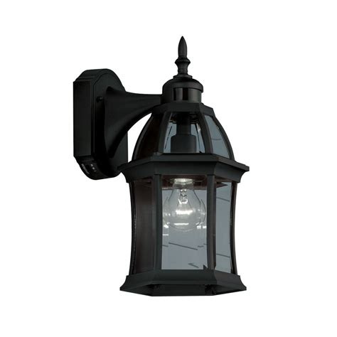 motion activated porch light shop portfolio 155 in h black motion activated outdoor
