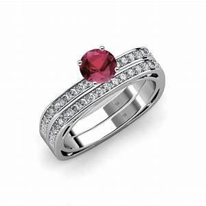Rhodolite Garnet Diamond Euro Shank Engagement Ring