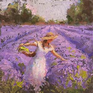 Woman Picking Lavender In A Field In A White Dress - Lady ...