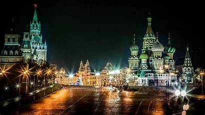 Moscow Square Wallpapers Glow Night Russia Russian