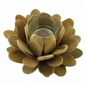 Fleur En Bois : bougeoir en bois flott fleur de bois h 10 cm ~ Dallasstarsshop.com Idées de Décoration