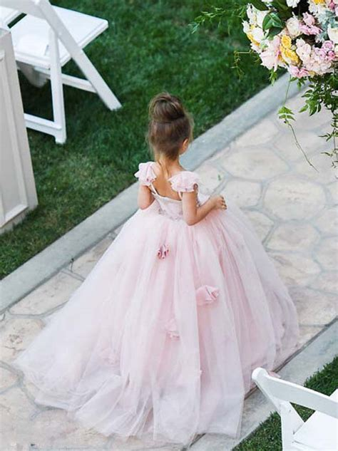 princess   straps pink long tulle flower girl dress