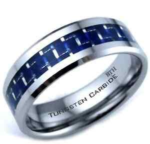 new tungsten carbide blue carbon inlay scratch proof mens wedding band ring ebay