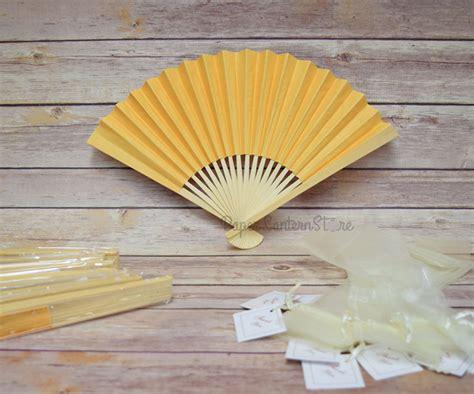 paper hand fans bulk 9 quot yellow paper hand fans w beige organza bag combo 10