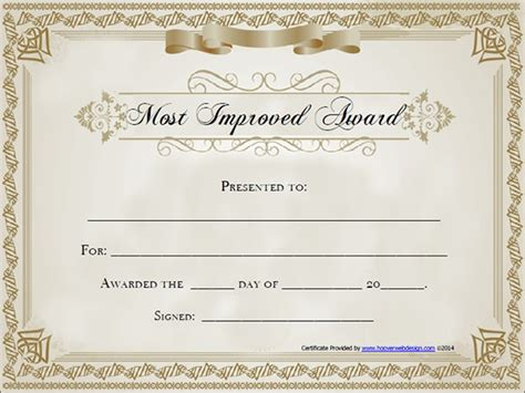 Award Certificate Templates Free