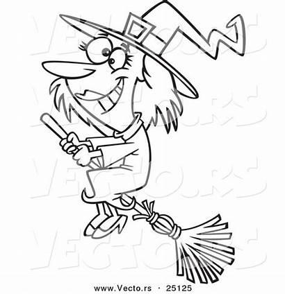 Halloween Outline Coloring Cartoon Broom Witch Happy