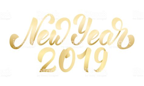 New Year 2019 Happy New Year 2019 Gold Hand Lettering Hand